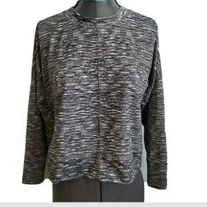 Lou & Grey Crop Top Shirt S Black Gray Space dye